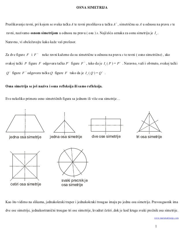 OSNA SIMETRIJAPreslikavanje ravni, pri kojem se svaka tačka A te ravni preslikava u tačku A` , simetričnu sa A u odnosu na...