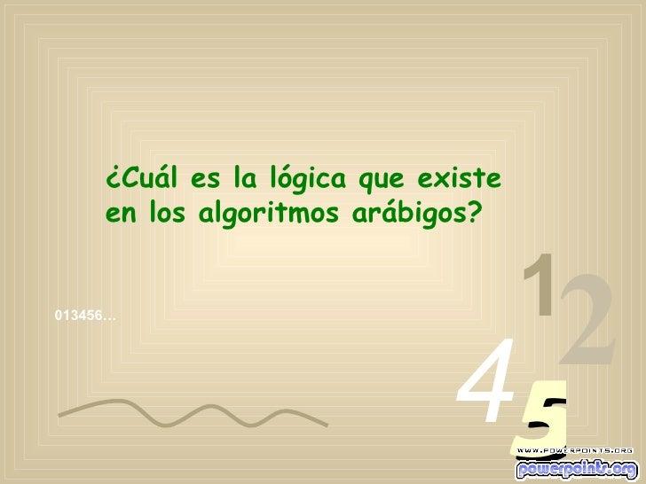 013456… 1 2 4 5 ¿Cuál es la lógica que existe en los algoritmos arábigos?