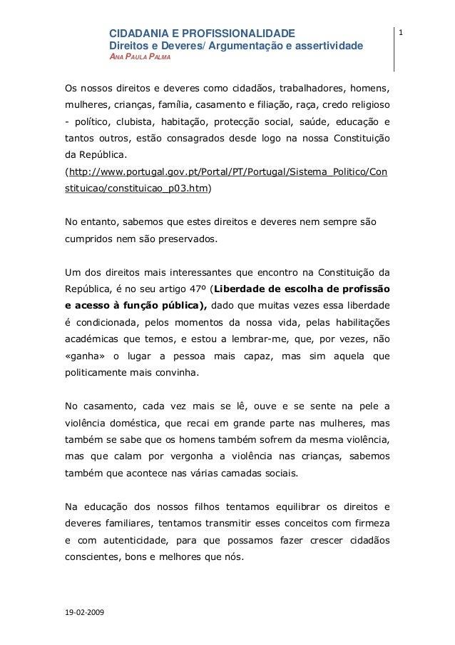 CIDADANIA E PROFISSIONALIDADE                                 1              Direitos e Deveres/ Argumentação e assertivid...