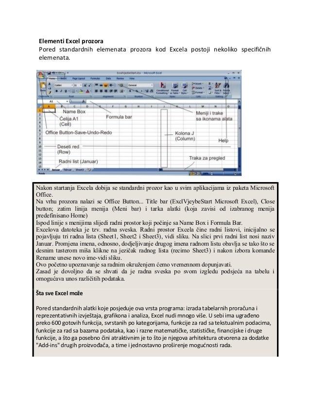 Elementi Excel prozora Pored standardnih elemenata prozora kod Excela postoji nekoliko specifičnih elemenata.Nakon startan...