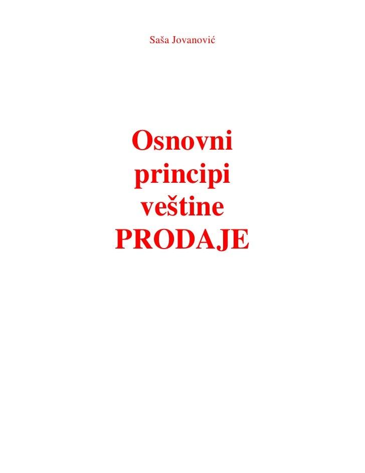 Saša Jovanović Osnovni principi veštinePRODAJE