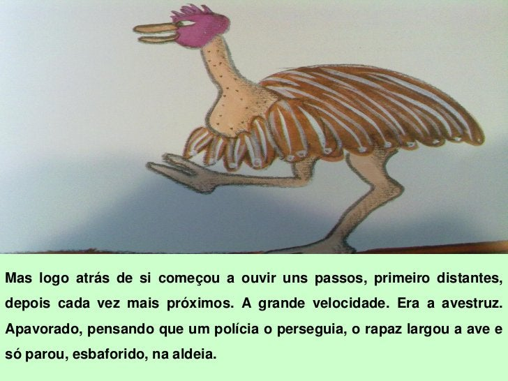Às costas da irmã avestruz, ofrango     voltou     para      casa.     Parafestejar, a galinha juntou todos osfilhos e fez...