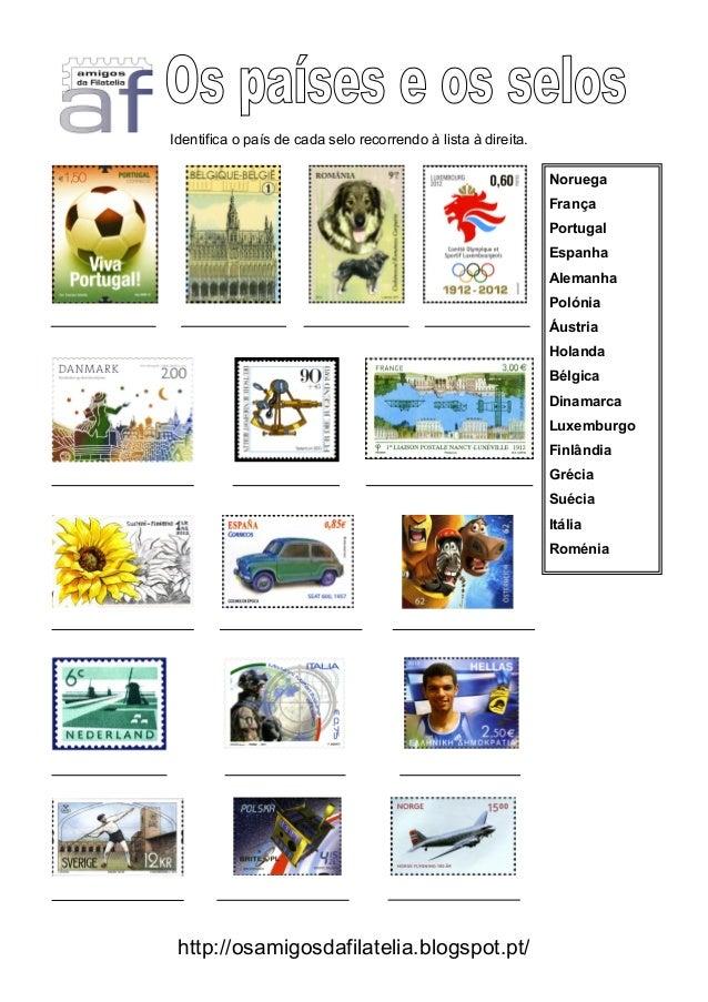 Identifica o país de cada selo recorrendo à lista à direita.                                                              ...