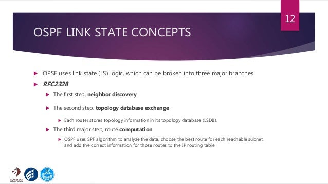 OSPF LINK STATE CONCEPTS  OPSF uses link state (LS) logic, which can be broken into three major branches.  RFC2328  The...