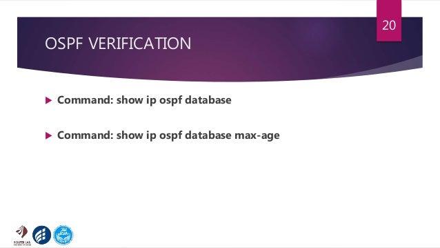OSPF VERIFICATION  Command: show ip ospf database  Command: show ip ospf database max-age 20