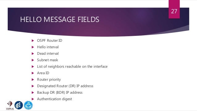 HELLO MESSAGE FIELDS  OSPF Router ID  Hello interval  Dead interval  Subnet mask  List of neighbors reachable on the ...