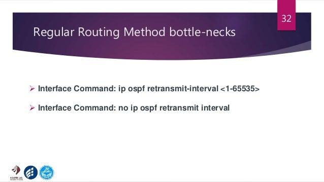 Regular Routing Method bottle-necks 32  Interface Command: ip ospf retransmit-interval <1-65535>  Interface Command: no ...
