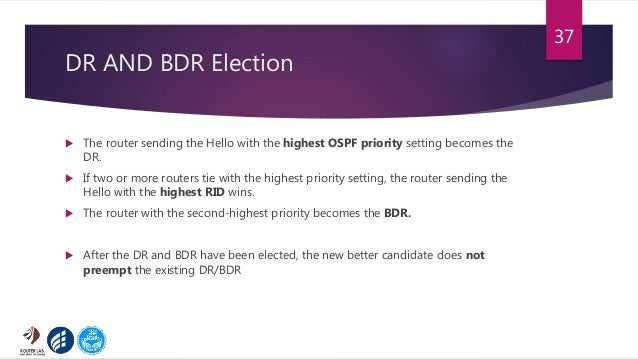 DR AND BDR Election  The router sending the Hello with the highest OSPF priority setting becomes the DR.  If two or more...