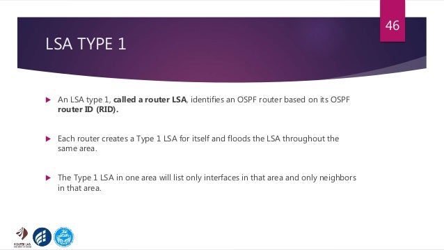 LSA TYPE 1  An LSA type 1, called a router LSA, identifies an OSPF router based on its OSPF router ID (RID).  Each route...