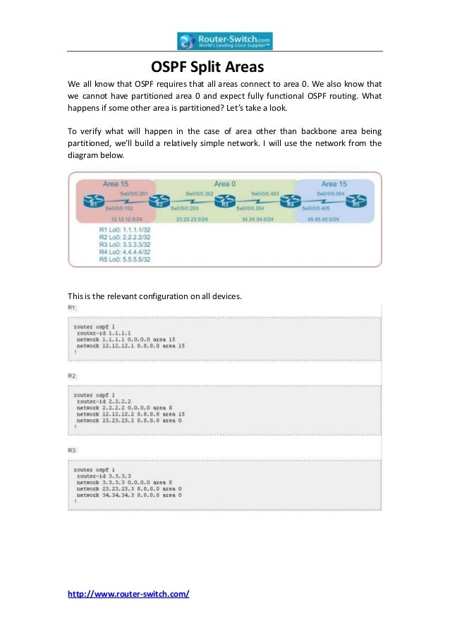 OSPF Split AreasWe all know that OSPF requires that all areas connect to area 0. We also know thatwe cannot have partition...