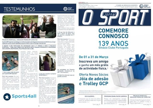 """MARÇO2014 nº 16 139 ANOS AO SERVIÇO DO DESPORTO 1894 - O GCP edita o Primeiro Jornal Desportivo ilustrado """"O Sport"""" (C.Xaf..."""