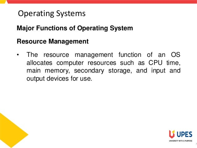 major functions of operating system