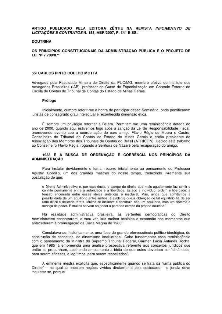 ARTIGO PUBLICADO PELA EDITORA ZÊNTIE NA REVISTA INFORMATIVO DE LICITAÇÕES E CONTRATOS N. 158, ABR/2007, P. 341 E SS..  DOU...