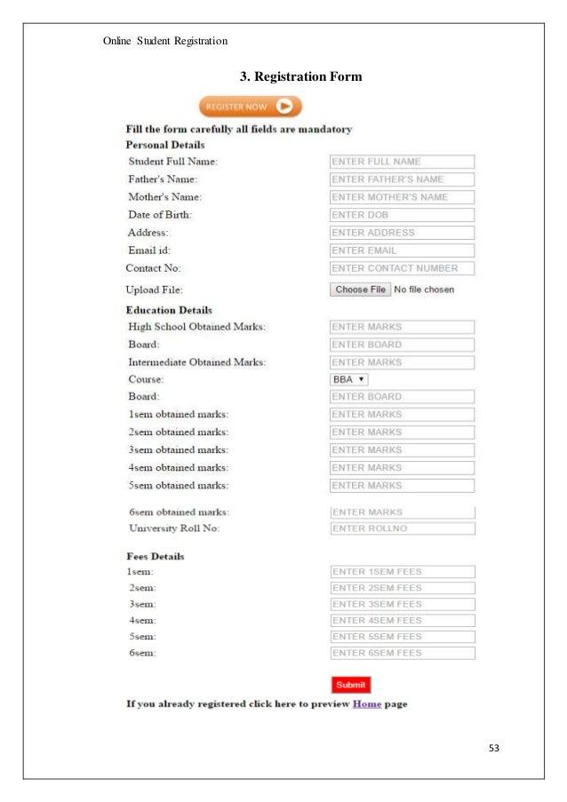 Online Student Registration System