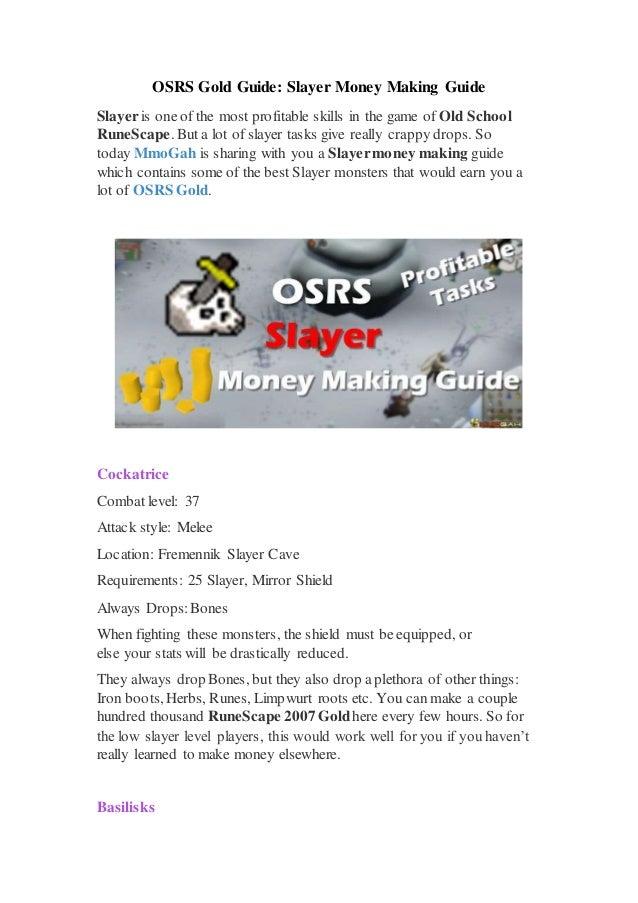 Osrs Gold Guide Slayer Money Making Guide