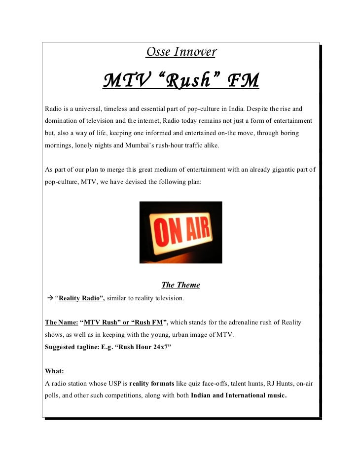 The MTV Radio Reality Show Concept
