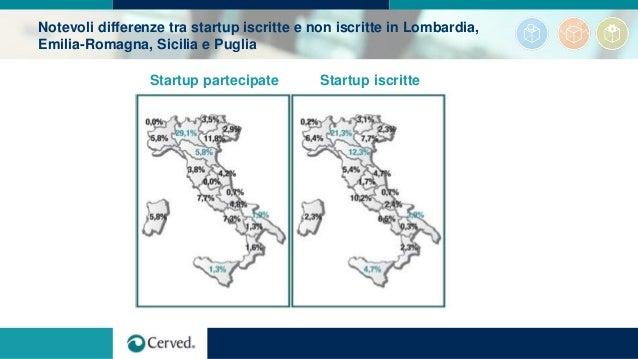 Notevoli differenze tra startup iscritte e non iscritte in Lombardia, Emilia-Romagna, Sicilia e Puglia Startup partecipate...