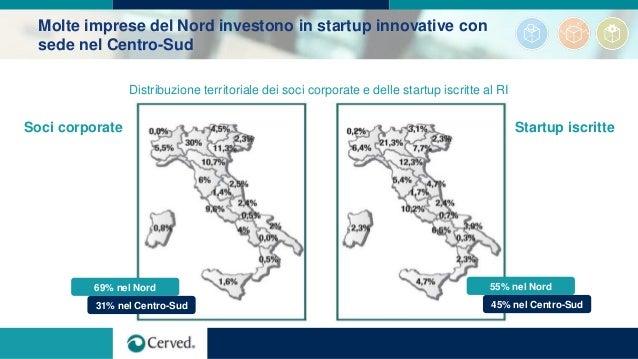 Molte imprese del Nord investono in startup innovative con sede nel Centro-Sud Distribuzione territoriale dei soci corpora...