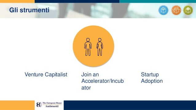 Venture Capitalist Join an Accelerator/Incub ator Startup Adoption Gli strumenti