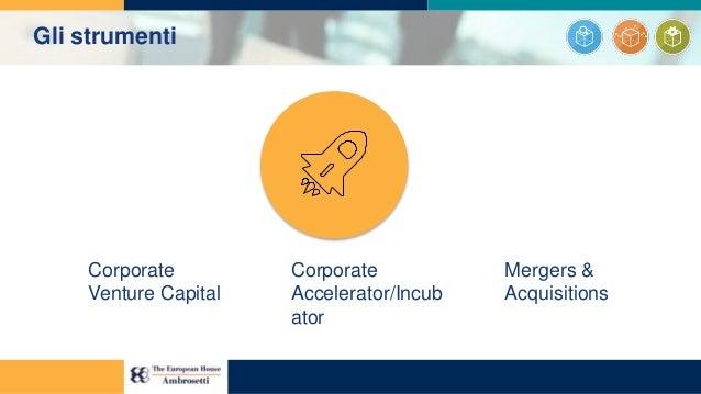 Corporate Venture Capital Corporate Accelerator/Incub ator Mergers & Acquisitions Gli strumenti
