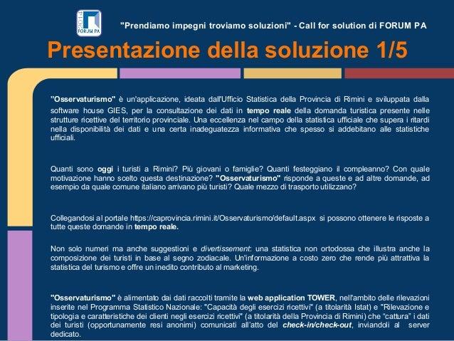 """""""Prendiamo impegni troviamo soluzioni"""" - Call for solution di FORUM PA """"Osservaturismo"""" è un'applicazione, ideata dall'Uff..."""
