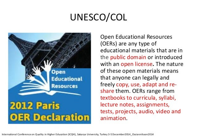 OER Paris Declaration (1) awareness and use enabling environments strategies and policies open licensing frameworks sustai...
