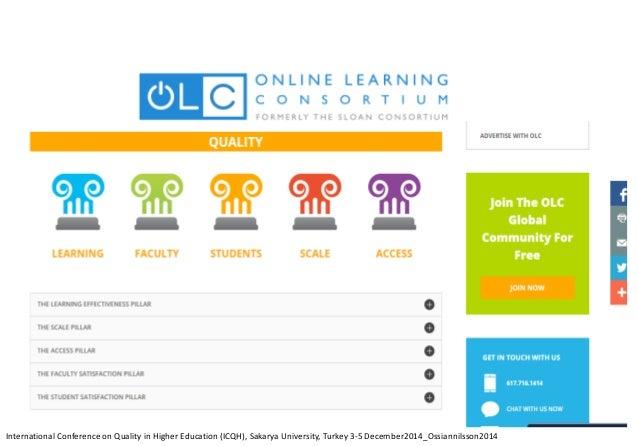 InternationalConferenceonQualityinHigherEducation(ICQH),SakaryaUniversity,Turkey3-5 December2014_Ossiannilsson2014