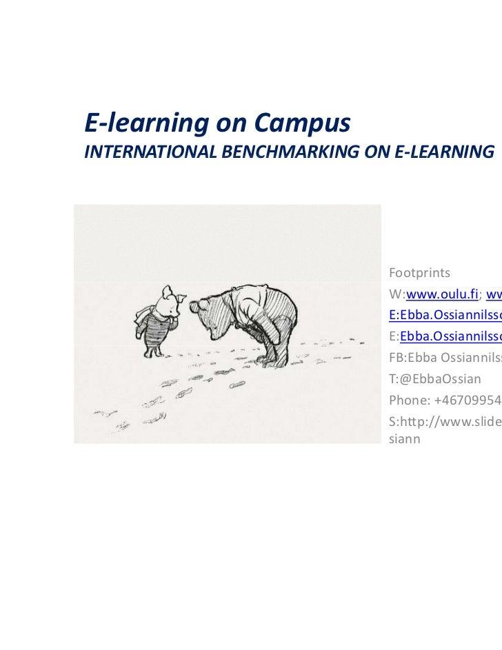 E-learning on CampusINTERNATIONAL BENCHMARKING ON E-LEARNING                              E LEARNING                      ...