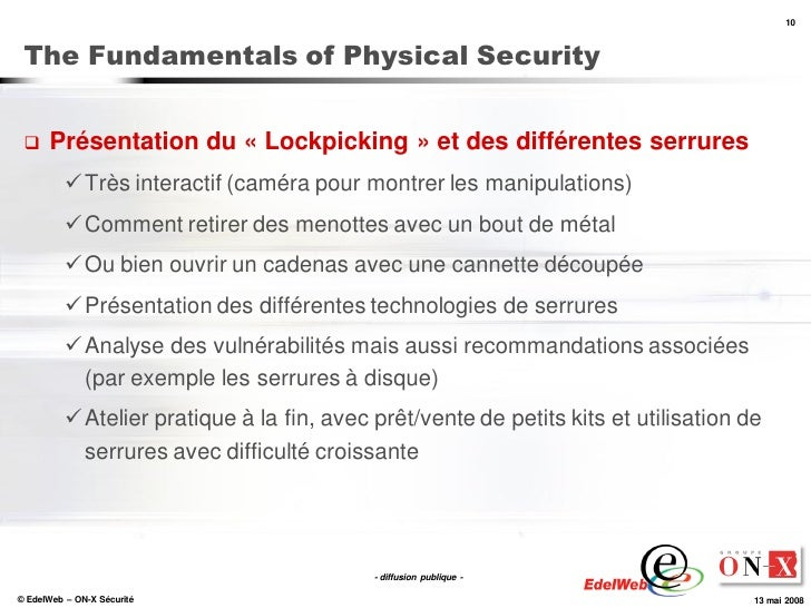10     The Fundamentals of Physical Security        Présentation du « Lockpicking » et des différentes serrures          ...