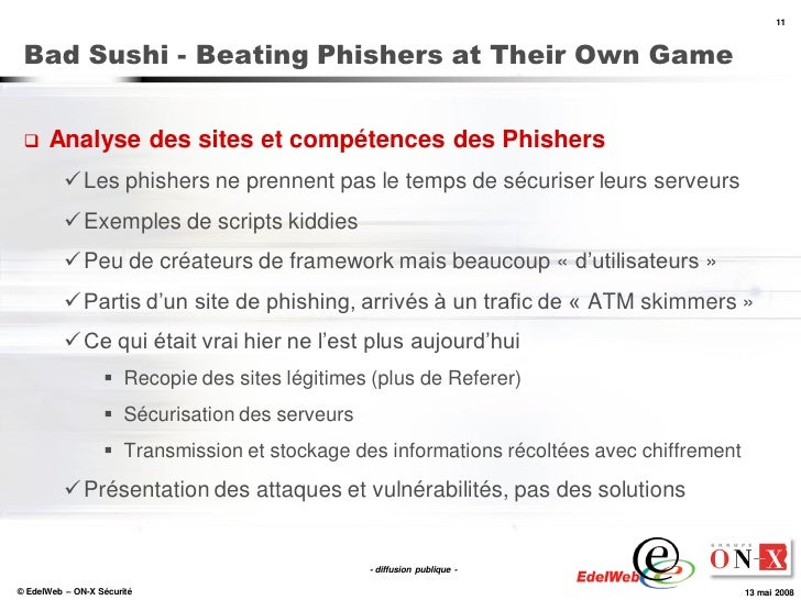 11     Bad Sushi - Beating Phishers at Their Own Game        Analyse des sites et compétences des Phishers            Le...