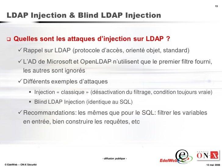 13     LDAP Injection & Blind LDAP Injection        Quelles sont les attaques d'injection sur LDAP ?            Rappel s...