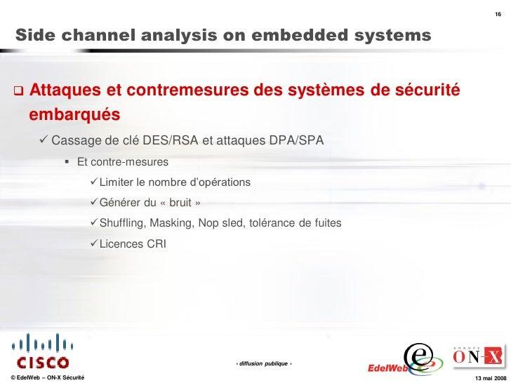 16     Side channel analysis on embedded systems        Attaques et contremesures des systèmes de sécurité       embarqué...