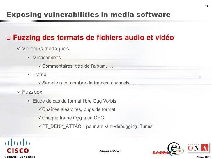 18     Exposing vulnerabilities in media software        Fuzzing des formats de fichiers audio et vidéo            Vecte...