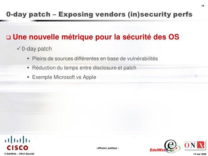19     0-day patch – Exposing vendors (in)security perfs     Une              nouvelle métrique pour la sécurité des OS  ...