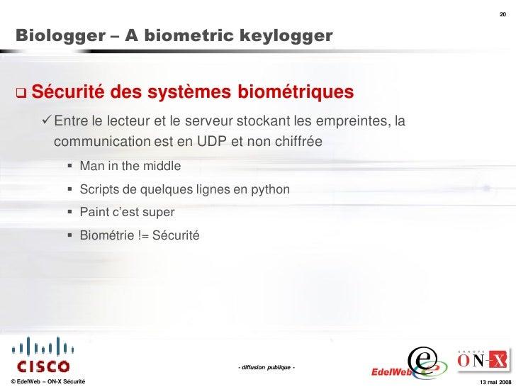 20     Biologger – A biometric keylogger     Sécurité                 des systèmes biométriques            Entre le lect...