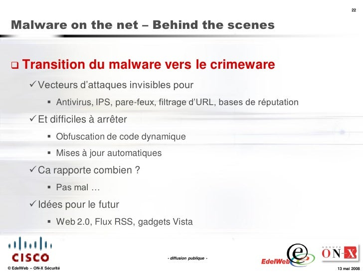 22     Malware on the net – Behind the scenes     Transition               du malware vers le crimeware            Vecte...