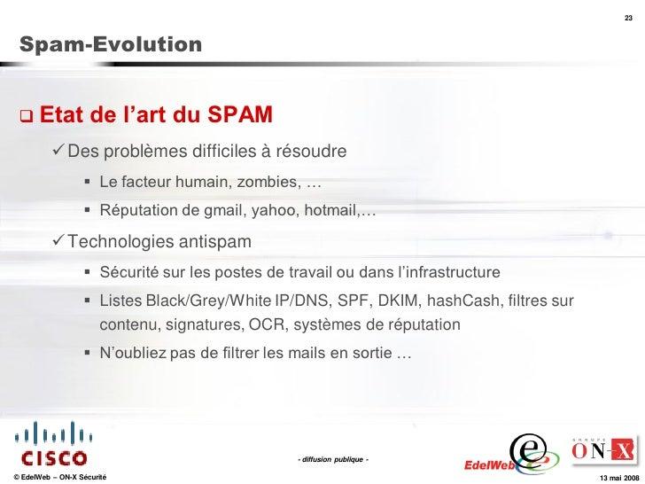23     Spam-Evolution     Etat             de l'art du SPAM            Des problèmes difficiles à résoudre              ...
