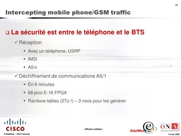 24     Intercepting mobile phone/GSM traffic     La          sécurité est entre le téléphone et le BTS            Récept...