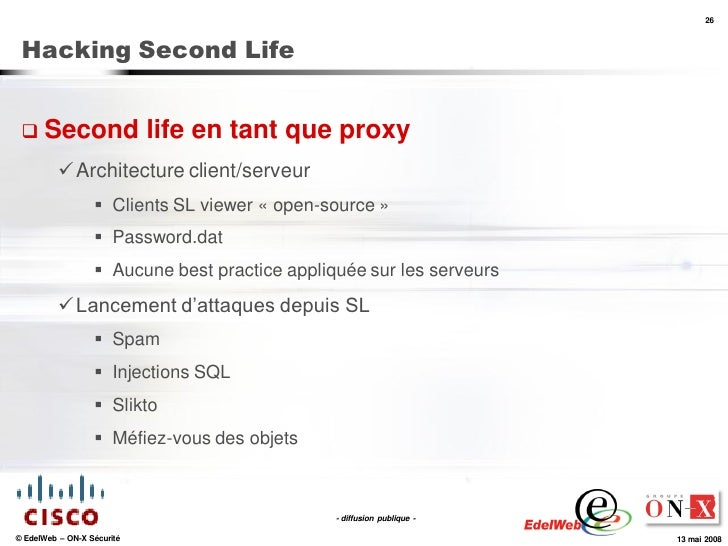 26     Hacking Second Life     Second                   life en tant que proxy            Architecture client/serveur   ...