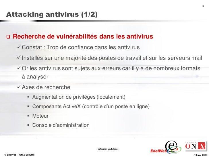5     Attacking antivirus (1/2)        Recherche de vulnérabilités dans les antivirus            Constat : Trop de confi...
