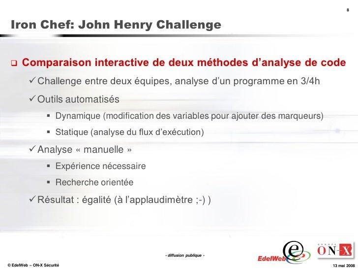 8     Iron Chef: John Henry Challenge        Comparaison interactive de deux méthodes d'analyse de code            Chall...
