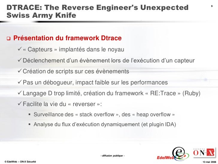 DTRACE: The Reverse Engineer's Unexpected                                             9     Swiss Army Knife        Prése...