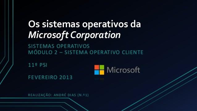 Os sistemas operativos daMicrosoft CorporationSISTEMAS OPERATIVOSMÓDULO 2 – SISTEMA OPERATIVO CLIENTE11º PSIFEVEREIRO 2013...