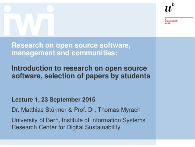 Research on open source software, management and communities: Introduction to research on open source software, selection ...