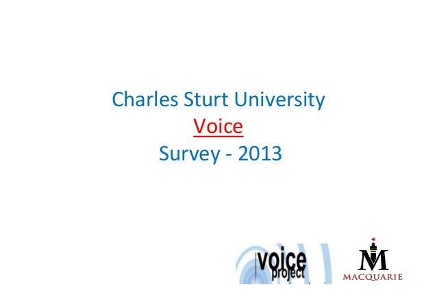Charles Sturt University         Voice     Survey - 2013