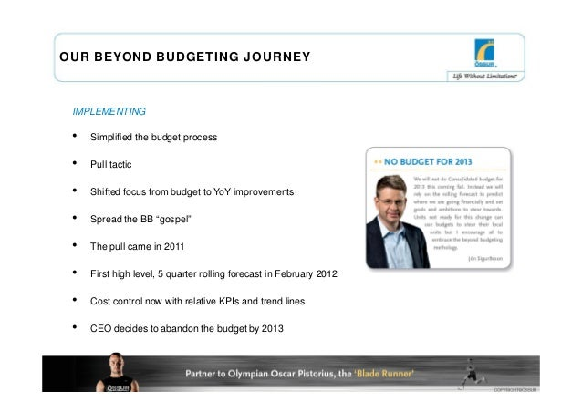 OUR BEYOND BUDGETING JOURNEY IMPLEMENTING •   Simplified the budget process •   Pull tactic •   Shifted focus from budget ...