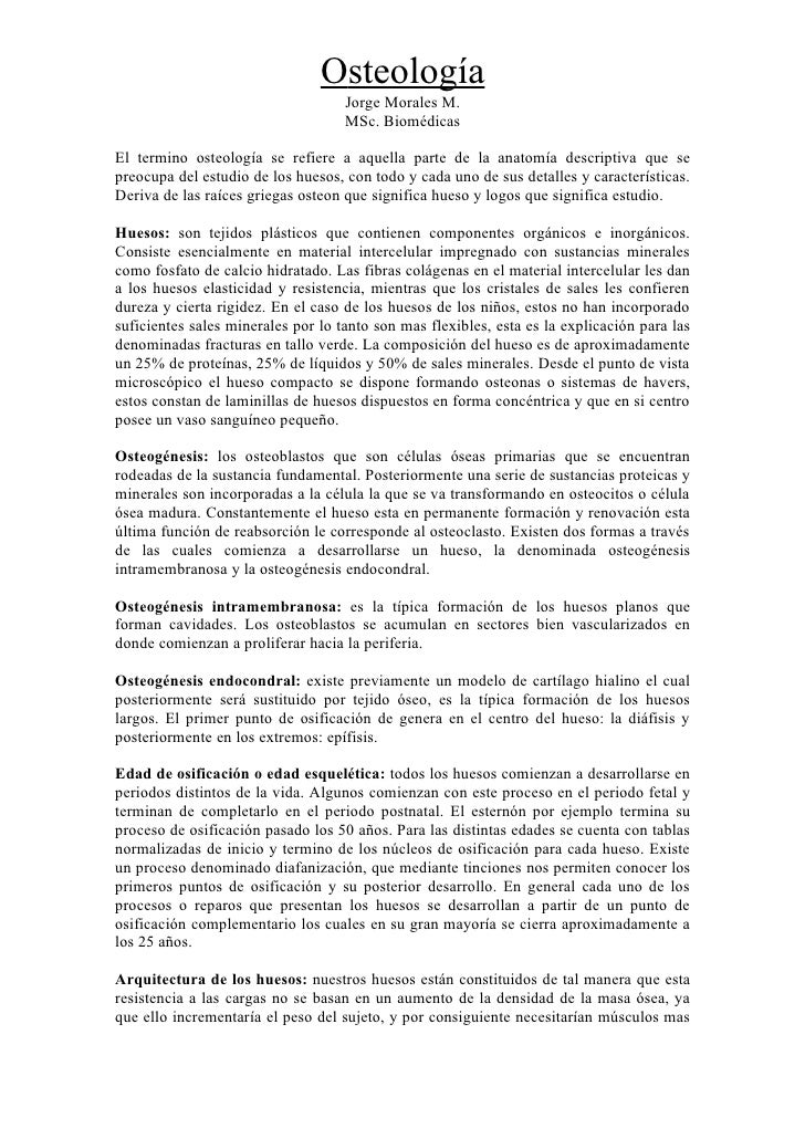 Osteología                                     Jorge Morales M.                                     MSc. Biomédicas  El te...