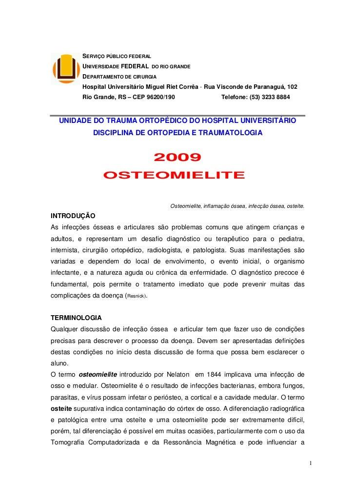 SERVIÇO PÚBLICO FEDERAL          UNIVERSIDADE FEDERAL DO RIO GRANDE          DEPARTAMENTO DE CIRURGIA          Hospital Un...