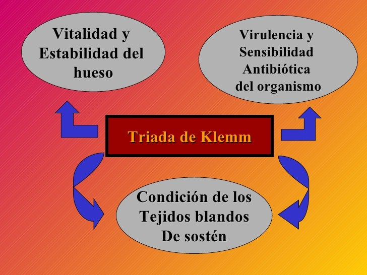 Triada de Klemm Vitalidad y  Estabilidad del  hueso Condición de los Tejidos blandos De sostén Virulencia y  Sensibilidad ...