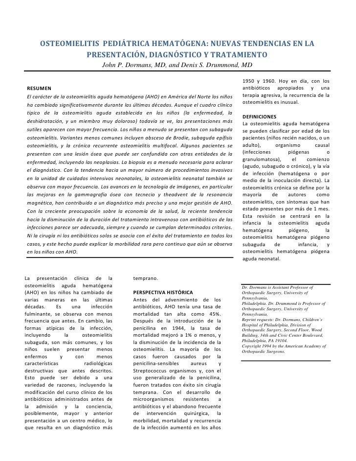 OSTEOMIELITIS PEDIÁTRICA HEMATÓGENA: NUEVAS TENDENCIAS EN LA                PRESENTACIÓN, DIAGNÓSTICO Y TRATAMIENTO       ...